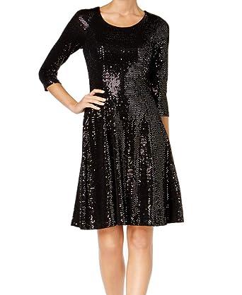 ef07131c Calvin Klein Women's Petite Disco Dot Sequin A-Line Dress Black 0P at  Amazon Women's Clothing store: