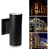 Up Down Cylinder Outdoor Wall Light, Vingtank 10W COB LED Wall Sconce Waterproof Fixture Porch Light Modern Wall Lamp for Building Home Security, Brushed Aluminum Finish (3100k Warm White)