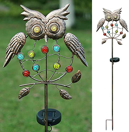 Decorman Outdoor Solar Light Stake – Solar Powered Metal Owl LED Decorative Garden Lights for Walkway, Pathway, Yard, Lawn Rusty Brown