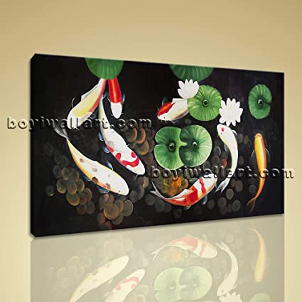 Large Abstract Feng Shui Painting Zen Wall Art Print Canvas Stretched Koi  Fish, Large Koi