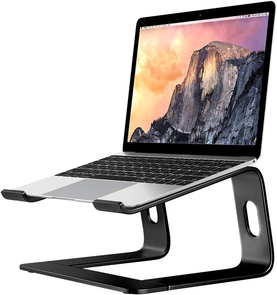 Notebook Computer Support Lifting Frame Desktop Metal Base Cooling Rack Ergonomic Desktop Computer Laptop Metal Support, Compatible with More 10-17 inch PC Notebook Computers (Black)