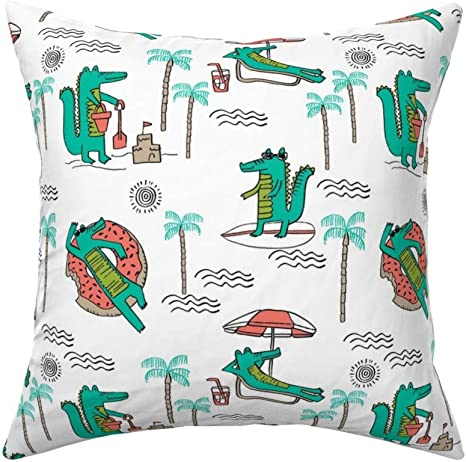 Roostery Throw Pillow Cool Alligator Gator Tropical Beach Palm Trees Animals Crocodile Print Linen Cotton Canvas Knife Edge Accent Pillow 18in X 18in Optional Insert Home Kitchen