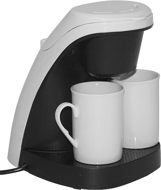 Cafetera blanca – Incluye 2 tazas de café de porcelana + filtro reutilizable lavable – 240 ml – 450 W – Dimensiones: 19,4 x 15,6 x 21,8 cm: Amazon.es: Hogar