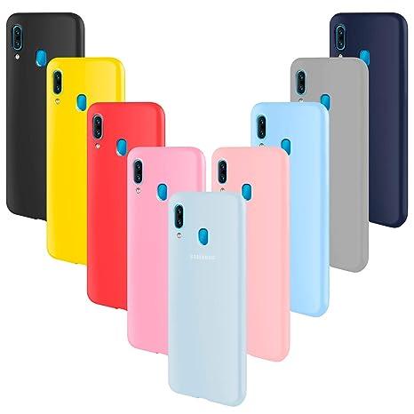 ivencase 9 × Funda Samsung Galaxy A40, Carcasa Fina TPU Flexible Cover para Samsung Galaxy A40 (Rosa Gris Rosa Claro Amarillo Rojo Azul Oscuro ...