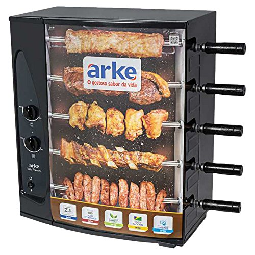 Arke Gas BBQ Grill 3 & 5 Skewer Rotisserie Brazilian Barbecue at Home - BBQ Roaster Oven - Perfect for Roasted Meat (Churrasco Grill)