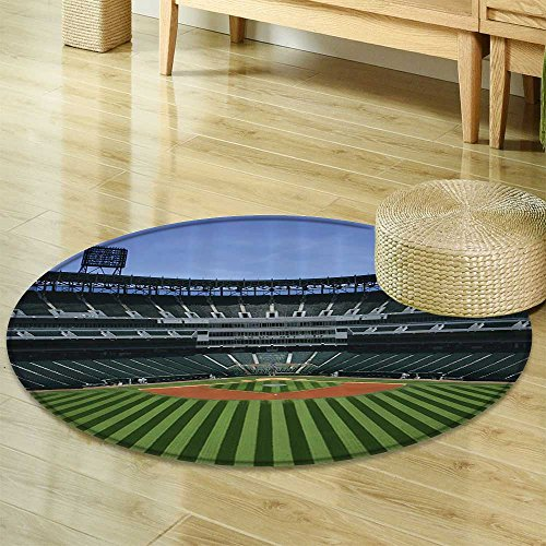 Sports Stadium Sport Theme Kids Boys Fabric Circle carpet (Baseball)-Diameter 180cm(71
