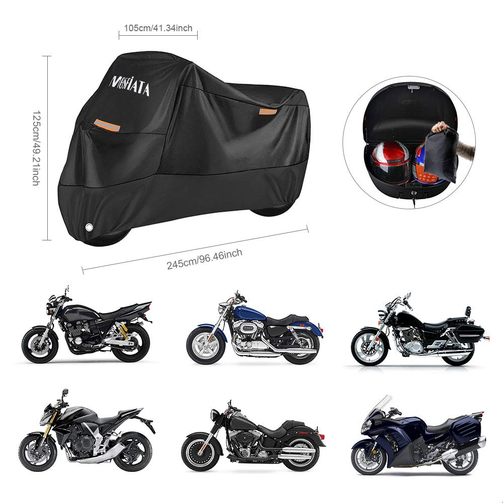 MOSFiATA Waterproof Motorcycle Cover Kawasaki Suzuki 210D Thickned Oxford Cloth with Lock Holes for Honda 96.46 /× 41.34 /× 49.21 inch Yamaha