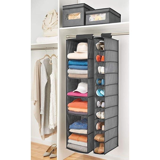 mDesign Organizador de zapatos para armario - Muebles zapateros para colgar con 10 compartimentos - Estanterías para zapatos, bolsos o carteras para ahorrar ...
