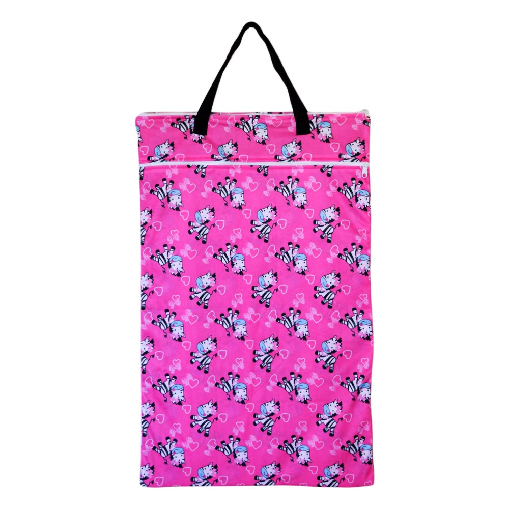 Large Hanging Wet Dry Bag for Baby Cloth Diapers or Laundry (Zebra)