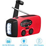 Emergency Weather Radio Portable Emergency Solar Radio Hand Crank Self Powered Phone Charger 3-Led Flashlight Am Fm