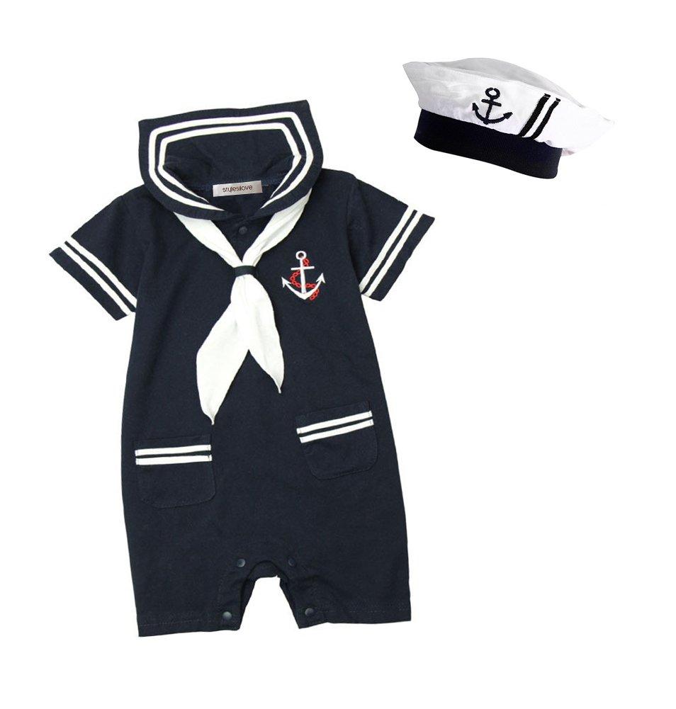 stylesilove Baby Boy Marine Sailor Costume Short Sleeve Romper Onesie with Hat 2 pcs Set (Navy Blue, 90/12-18 Months)