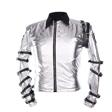 997d1de1 Amazon.com: Thrille9 Michael Jackson Jacket Classic MJ Bad Tour Shirt Punk  Leather Belts Zipper Jacket Outerwear Silver: Clothing