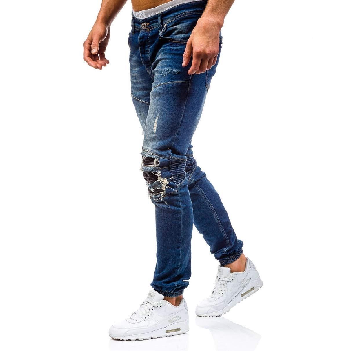 Coolred-Men Slimming Plus Size Wash Comfort Jeans Regular-Fit Pants