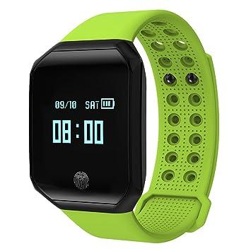 Padgene Fitness Tracker reloj, Bluetooth 4.0 inteligente pulsera IP67 con ritmo cardíaco monitor deporte podómetro reloj ...