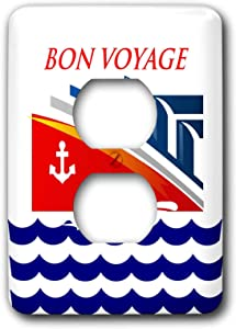 3dRose lens Art by Florene - Nautical Décor II - Image of Words Bon Voyage With Cartoon Ship And Ocean Waves - 2 plug outlet cover (lsp_317576_6)