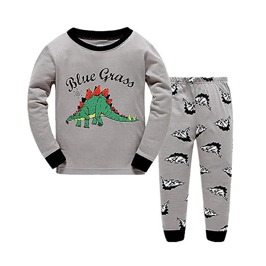 f1ecdb106f68 Amazon.com  BABSUE Kids Boys Pajamas Dinosaur Toddler Clothes Long ...