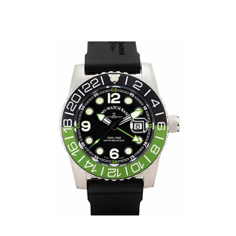 Zeno Airplane Diver - Quartz - GMT - grÜn-schwarz - Kalender - Kautschukband