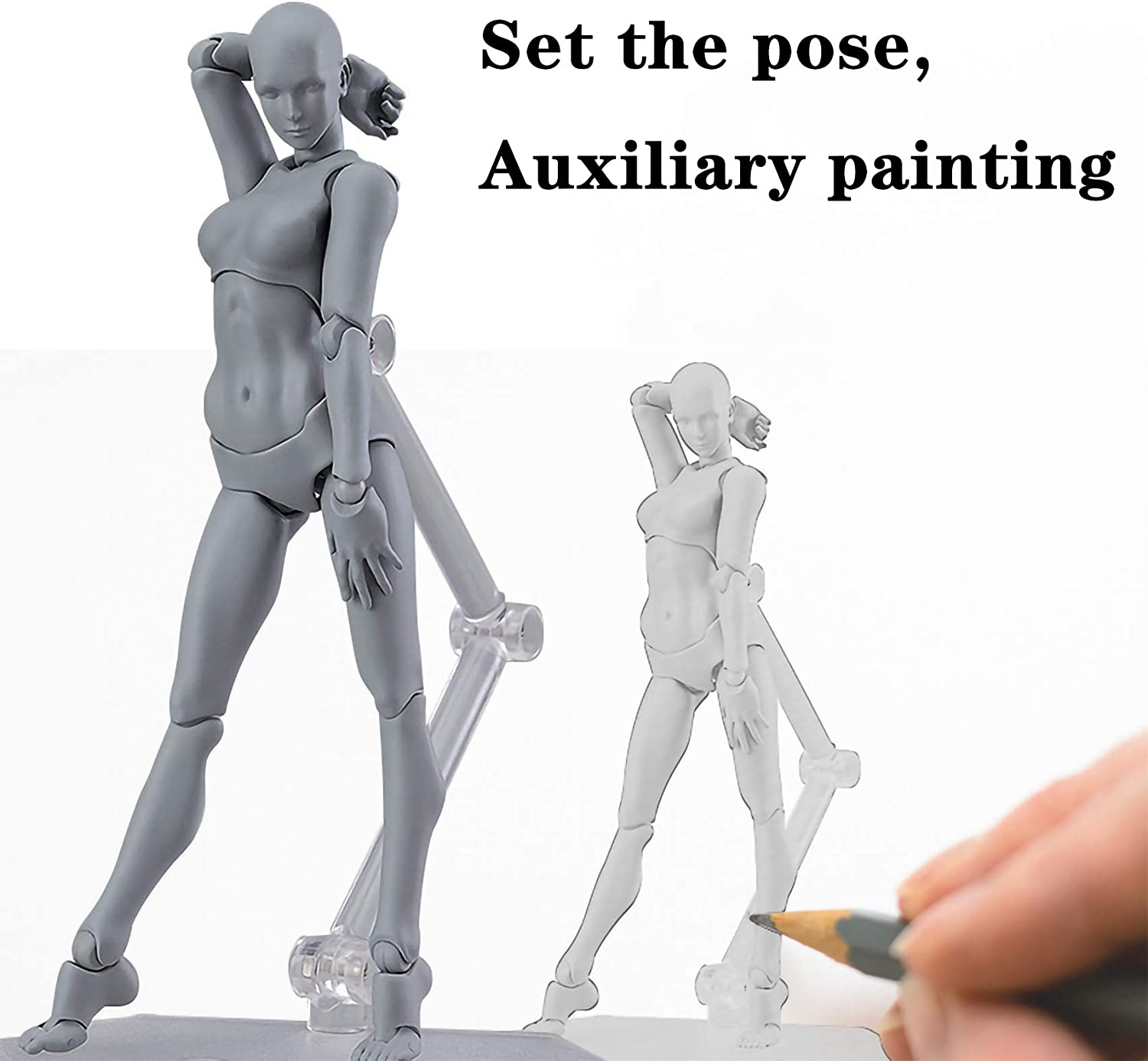 Avicir Artists Manikins Movable Paint Mannequin Mandatory Doll for Drawing Action Figure Model Gray,Human Mannequin Man and Woman Set Female