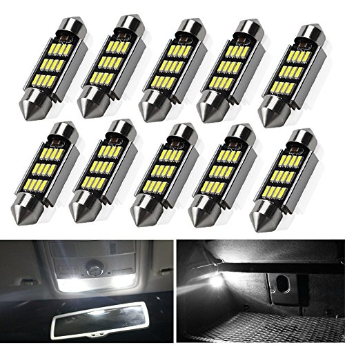 Viesyled 10 PCS 39mm Festoon LED Bulbs White Super Bright LED Interior Car Lights 12-SMD 4014 Chipset Canbus No Error Car Interior Dome Map License Plate Dash Board Cargo Trunk Door Lights