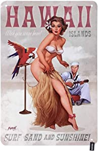 HOSNYE Hawaii Pin Up Girl Tin Sign Sexy Woman with Adorable Bird Handsome Man Vintage Metal Tin Signs for Men Women Wall Art Decor for Home Bars Clubs Cafes 8x12 Inch