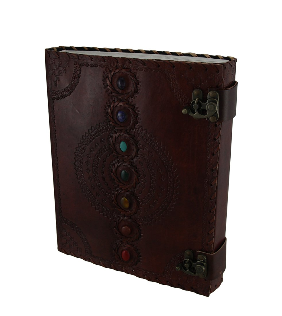 Zeckos Colorful Chakra Stones Double Clasp Embossed Leather Bound Journal 10 X 13 Inch by Zeckos