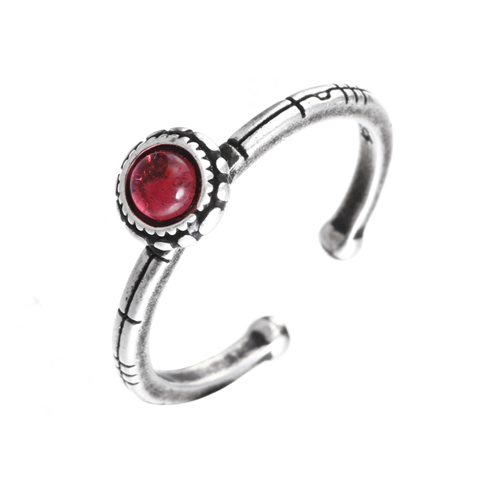 ptk12 Hot sell fashion red crystal vintage thai silver female 925 sterling silver ladies`finger rings