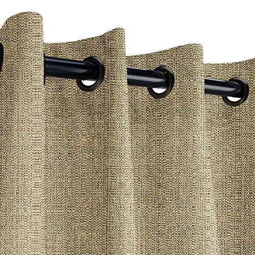 Sunbrella Linen Pampas Outdoor Curtain with Dark Gunmetal Grommets 50 in. Wide x 84 in. Long ()