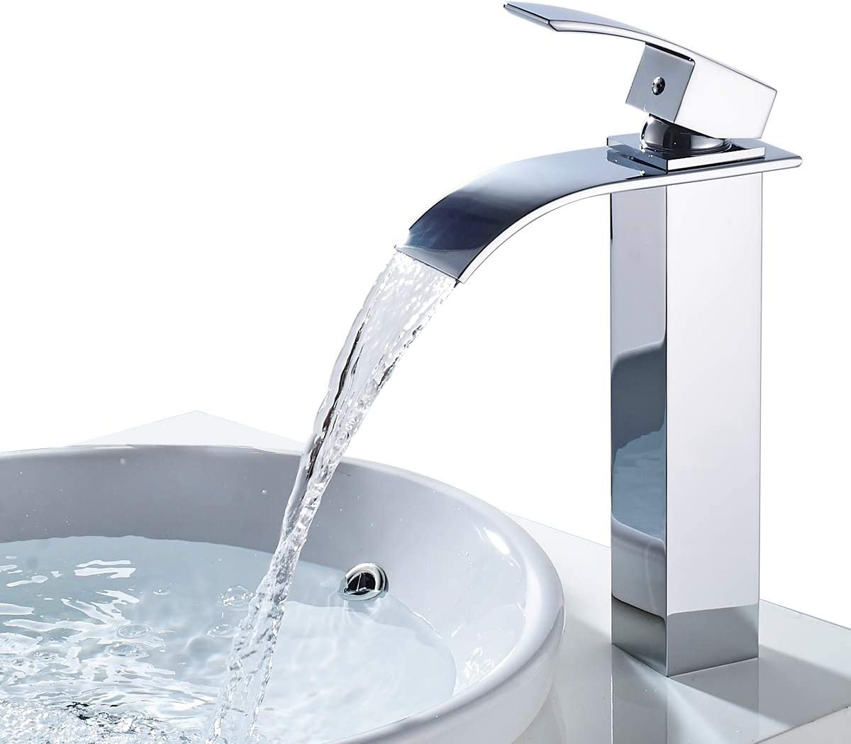 ROVATE Bathroom Vessel Sink Faucet Chrome, Brass Waterfall faucet Single Handle, Single Hole Washroom Tap, Hot and Cold Water Mixer Deck Mounted