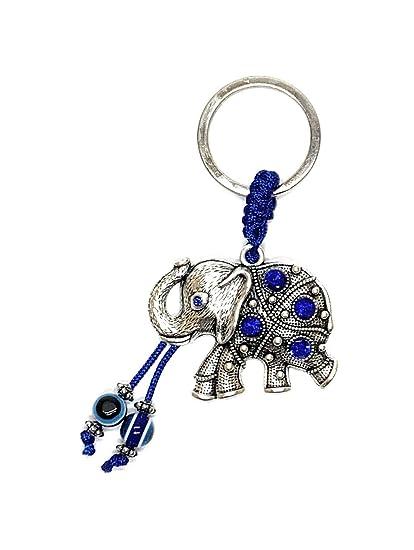 Llavero con diseño de elefante y mal de ojo de la suerte ...