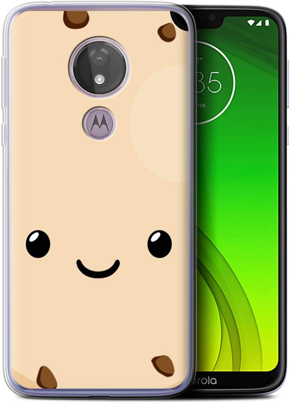Phone Case for Motorola Moto G7 Power Kawaii Food Cookie Design Transparent Clear Ultra Soft Flexi Silicone Gel/TPU Bumper Cover