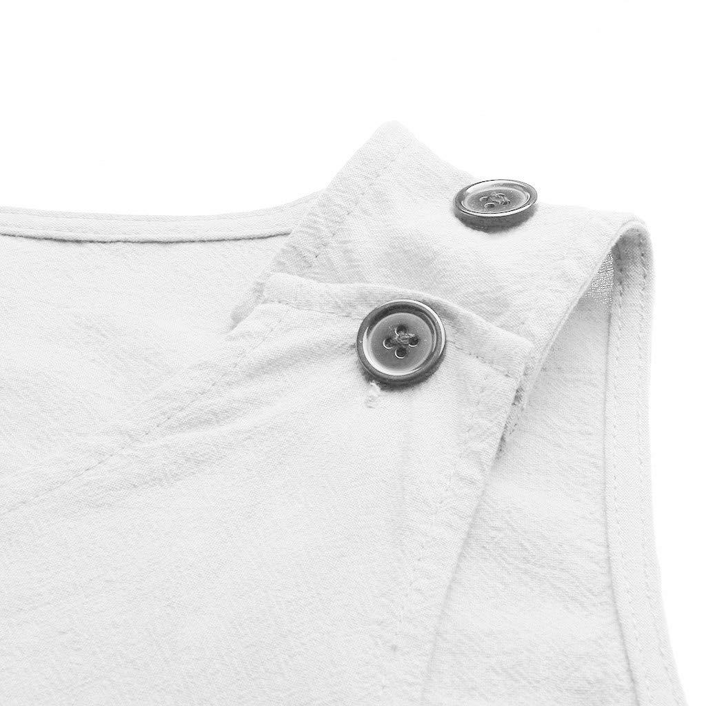 JIAJU--DJ Women Casual V Neck Sleeveless Pocket Dresses Linen Plain Mini Dresses