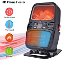 Basein 1,000W Mini Flame Heater with Adjustable Thermostat and Tip-Over Protection
