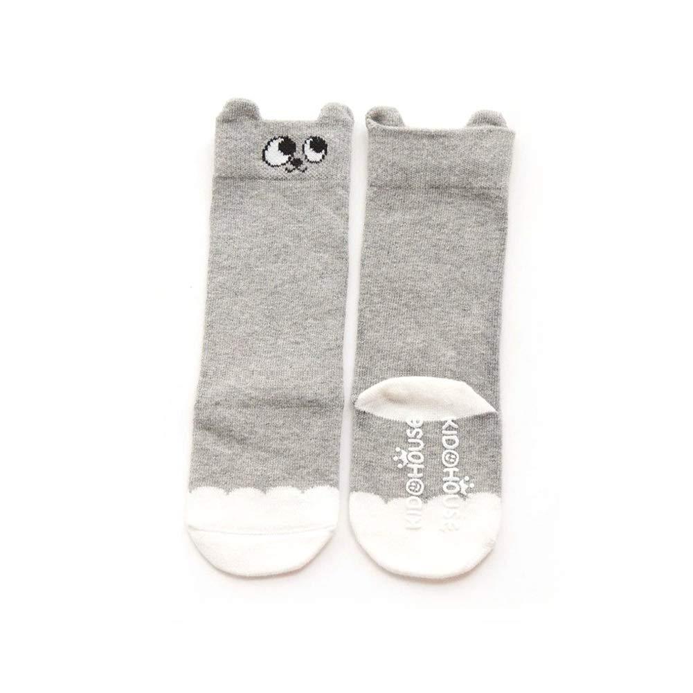 BEAUTY Pack of 3 Non Skid Cotton Socks Baby Knee High Socks for 1-4Y,Anti Slip Skid Animal Stockings 3 Pairs