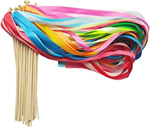 Hangnuo 30 Pack Ribbon Wands Wedding Streamers with Bells, Fairy Stick Wand Party Favors for Baby Shower Holiday Celebration, Mix Color #1