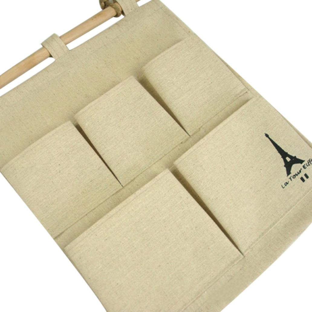 Colorido 5 Pockets Eiffel Tower Wall Hanging Storage Bag Pouch with Rope Wooden Bar