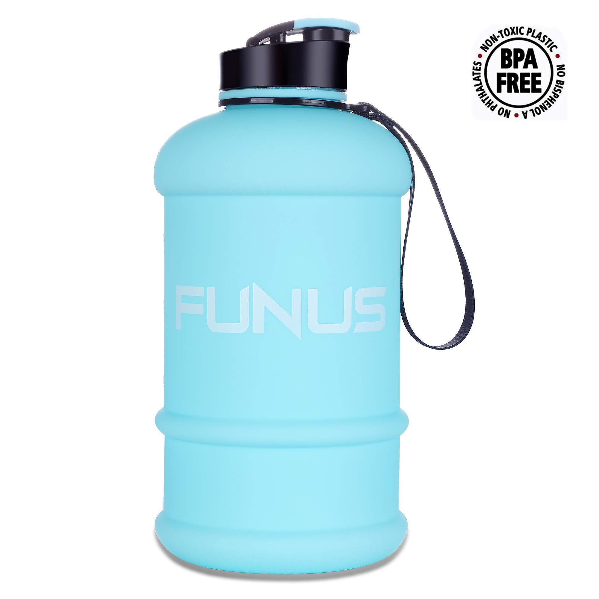 FUNUS Big Water Bottle 1.3L Large Water Bottle BPA Free Leak Proof Reusable Odorless Big Capacity Water Jug for Men Women Fitness Gym Outdoor Climbing Gym Water Bottle (1.3L Matte SkyBlue) by FUNUS