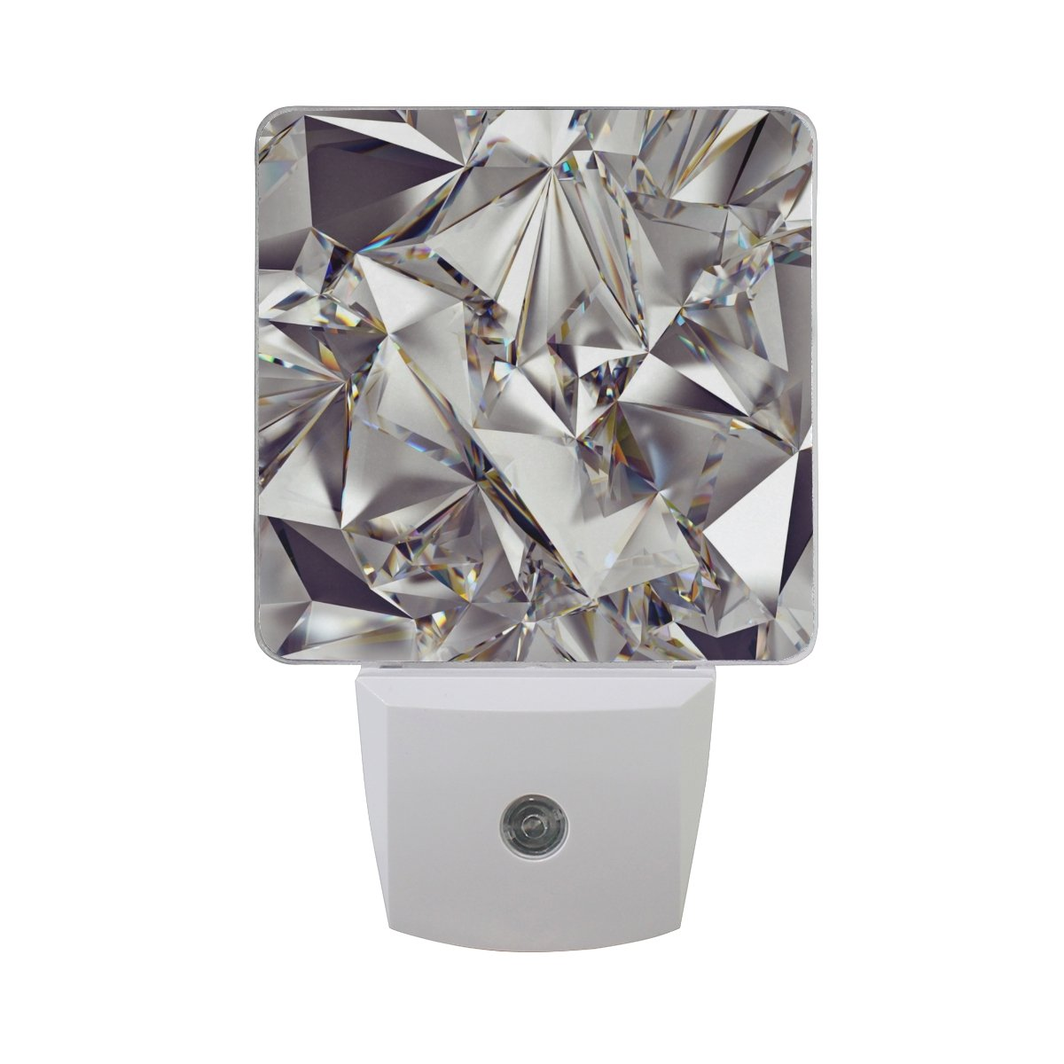 Naanle Set of 2 Glitter 3D Abstract Diamond Crystal Clear Texture Auto Sensor LED Dusk to Dawn Night Light Plug in Indoor for Adults
