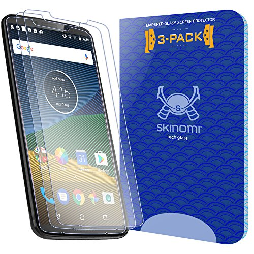 Moto Z3 Play Screen Protector (Verizon Moto Z3)(3-Pack), Skinomi Tech Glass Screen Protector for Moto Z3 Play Clear HD and 9H Hardness Ballistic Tempered Glass Shield
