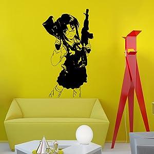 Wall Decal Anime Girl with Glasses Dangerous Guns Decals for Boy Room Interior Design Bedroom Living Room Vinyl Sticker Home Decor Art Mural OS482