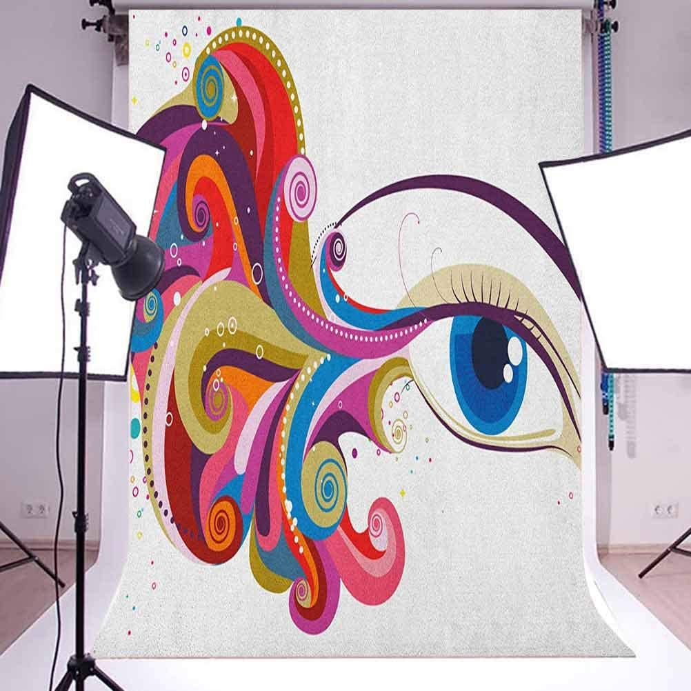 7x10 FT Eye Vinyl Photography Background Backdrops,Abstract Artwork Womans Eye Colorful Vibrant Swirls Dots Curvy Lines Feminine Vision Background Newborn Baby Portrait Photo Studio Photobooth Props