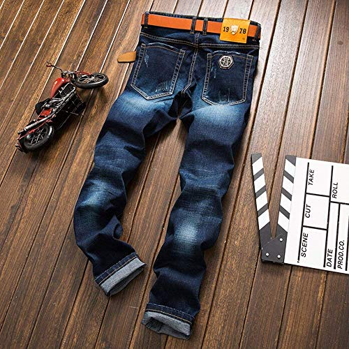 Strappati Da Badges Vintage Jeans Fori Ssige Punk Blau Uomo Di Giovane Pantaloni Del Moda 1dxUCqw5