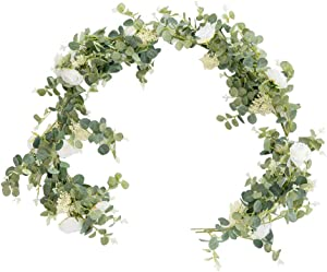 2Pcs 6.5Ft Eucalyptus Garland with White Flowers, Fake Silver Dollar Eucalyptus Leaves Greenery Hanging Garland Vines, Artificial Silk Eucalyptus Decorations for Wedding Party Runner Table Wall Decor