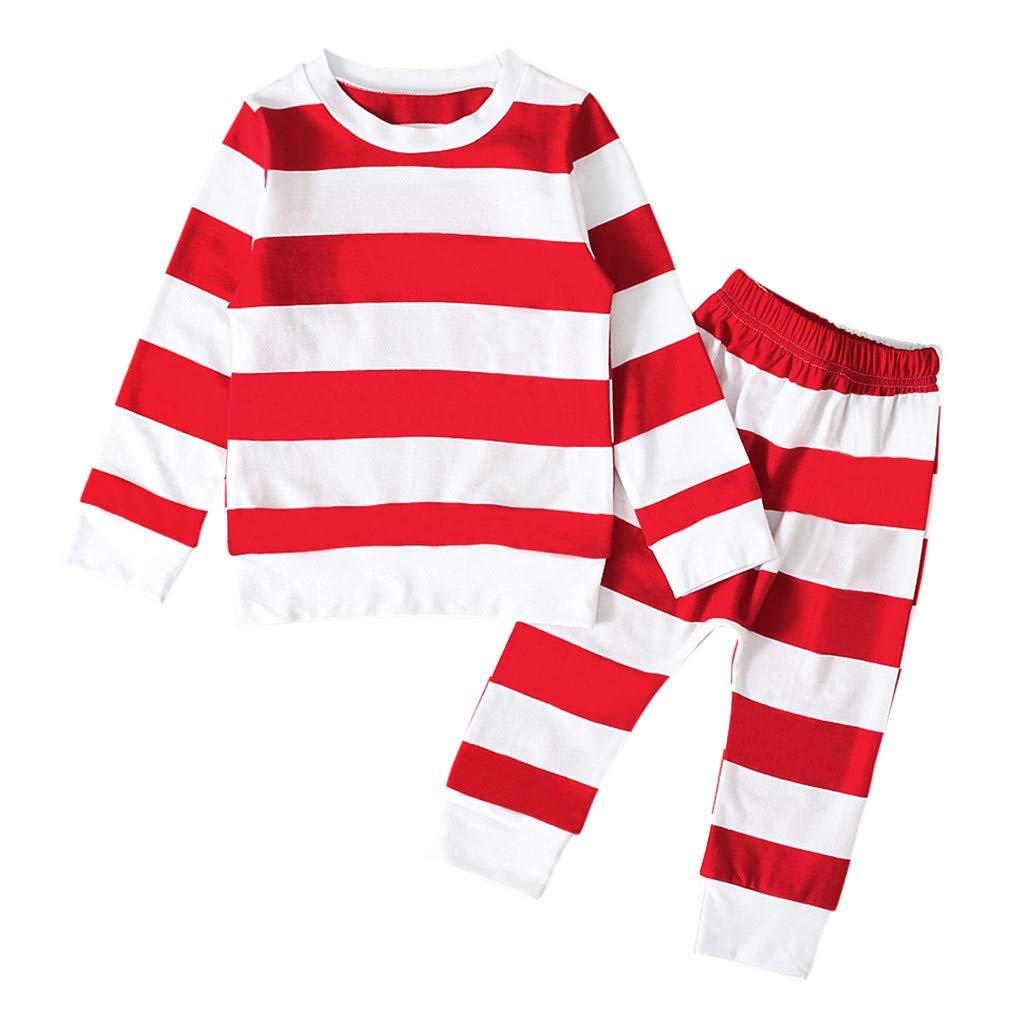 Pantalons Cadeau de No/ël V/êtements Enfants Pas Cher LABIUO 2Pcs No/ël Ensemble Enfant B/éb/é Filles Gar/çons Automne Hiver Pyjama Manches Longues en Coton imprim/é Rayure Sweat-Shirt Top