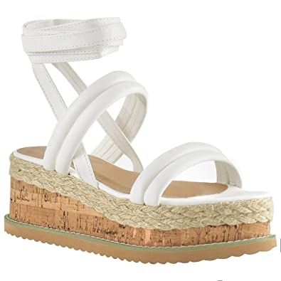 9f093ccfbac Fashion Thirsty Womens Summer Espadrilles Flatforms Strappy Sandals Wedge  Platform Lace Tie Up White