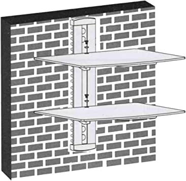 Multi Media Rack DVD HiFi Media Consola Pared estantería con Dos estantes de Cristal (15 kg por Estante) y Sistema de gestión de Cables: Amazon.es: Electrónica