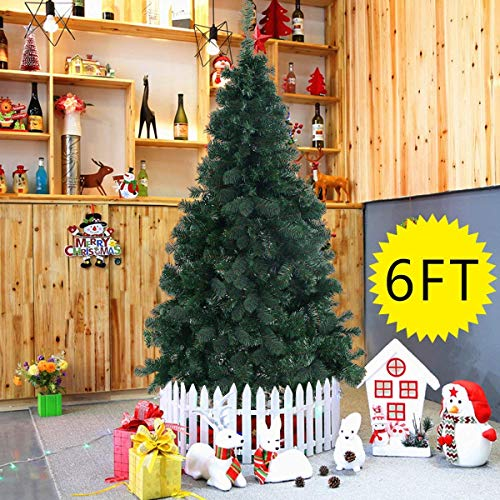 Goplus Artificial Christmas Tree Xmas Pine Tree with Solid Metal Legs Perfect for Indoor and Outdoor Holiday Decoration 6 feet Green