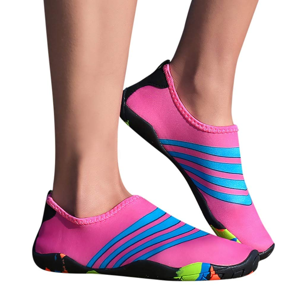 Unisex Summer Stripe Beach Shoes Swimming Shoes Snorkeling Shoes Diving Shoes Barefoot Quick Dry Aqua Shoes Cover Heel Couple Water Sports Shoes