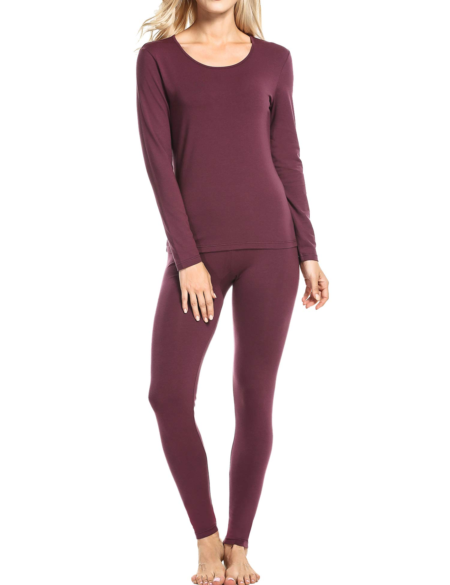 Ekouaer Pj Set Woman Long Sleeve Underwear Baselayer Sets Plus Size (Wine, Red, XXXL) by Ekouaer
