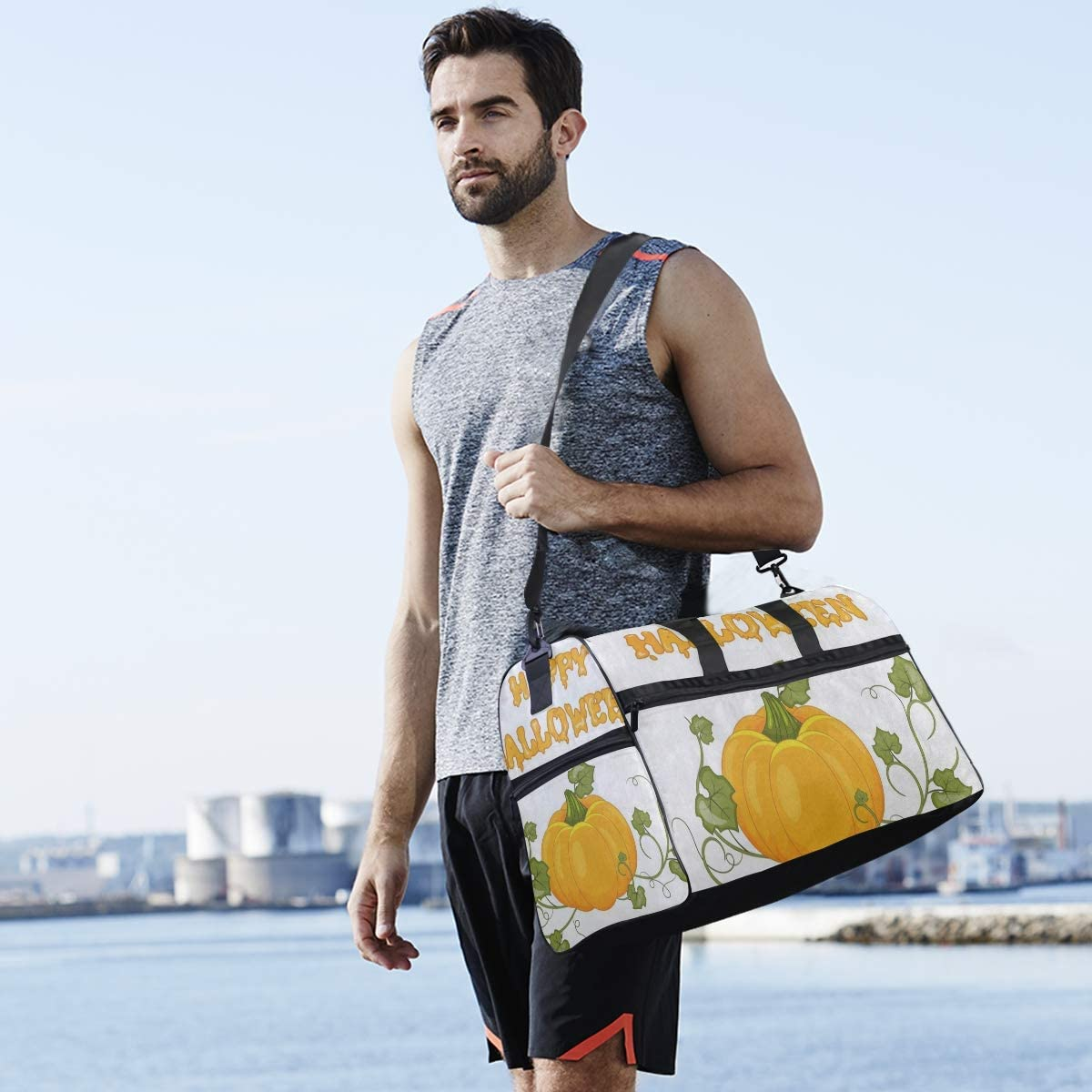Gym Bag Happy Halloween Pumpkin Leaf Sport Duffle Holdall Bag Training Handbag Yoga bag for Men Women