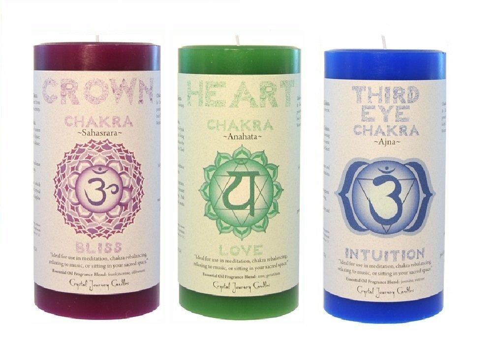 Crystal Journey 3x6 Pillar Chakra candles bundle of 3 (Crown Chakra, Heart Chakra, Third Eye Chakra)